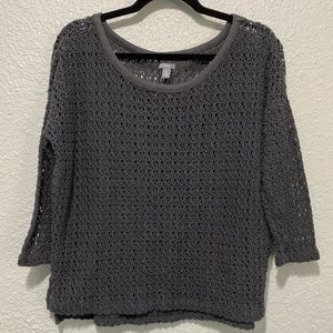 Aerie Oversized Chunky Gray Crocheted Pullover